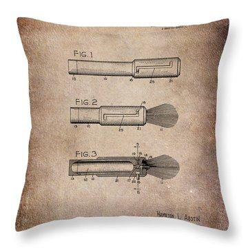 Shaving Brush Diagram 1920  Throw Pillow by Lesa Fine