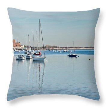 Throw Pillow featuring the photograph Sheepshead Bay Harbor by Ann Murphy