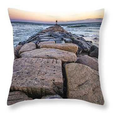 Shinnecock Inlet Jetty Throw Pillow