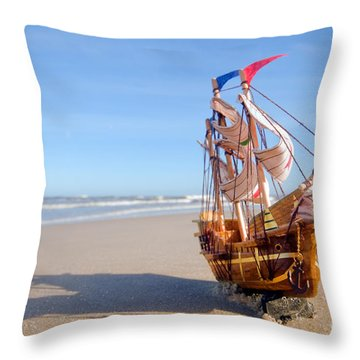 Ship Model On Summer Sunny Beach Throw Pillow by Michal Bednarek