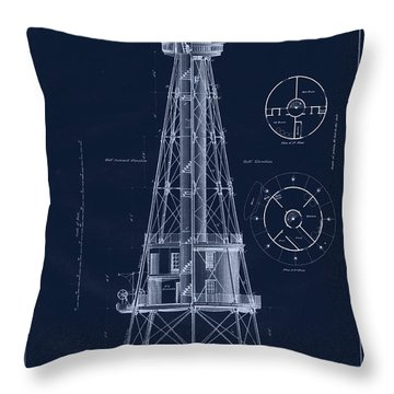 Ship Shoal Lighthouse Drawing Throw Pillow by Jerry McElroy