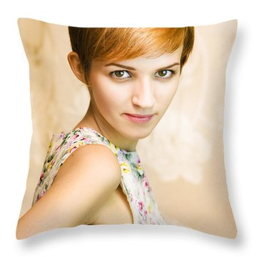 Short Haired Girl In Floral Dress Throw Pillow
