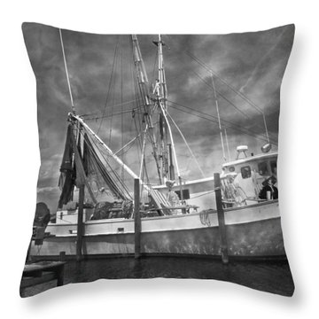 Shrimpin' Boat Captain And Mates Throw Pillow by Betsy Knapp