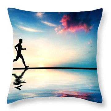 Silhouette Of Man Running At Sunset Throw Pillow