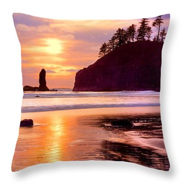 Silhouette Of Sea Stacks At Sunset Throw Pillow