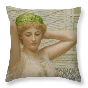 Silver Throw Pillow by Albert Joseph Moore