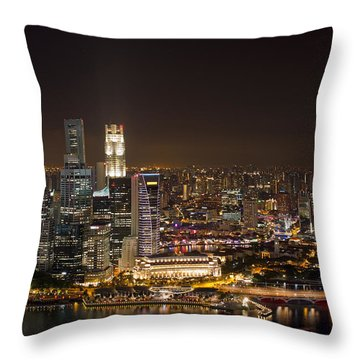Singapore City Skyline At Night Throw Pillow by David Gn