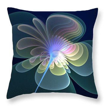 Throw Pillow featuring the digital art Single Flower by Svetlana Nikolova