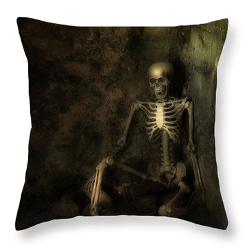 Skeleton Throw Pillow by Amanda Elwell