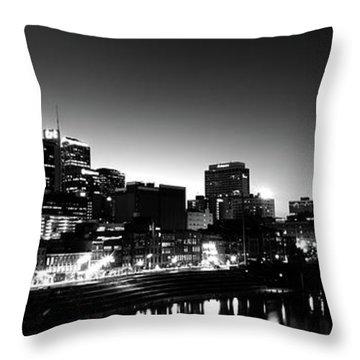 Skylines At Night Along Cumberland Throw Pillow