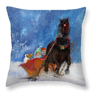 Sleigh Ride Throw Pillow by Loretta Luglio