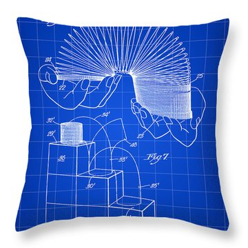 Slinky Patent 1946 - Blue Throw Pillow by Stephen Younts