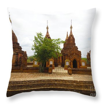 Throw Pillow featuring the photograph Smaller Temples Next To Dhammayazika Pagoda Built In 1196 By King Narapatisithu Bagan Burma by Ralph A  Ledergerber-Photography