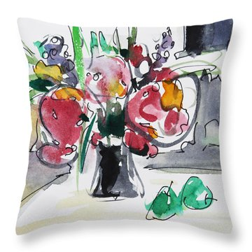 Throw Pillow featuring the painting Smile by Becky Kim