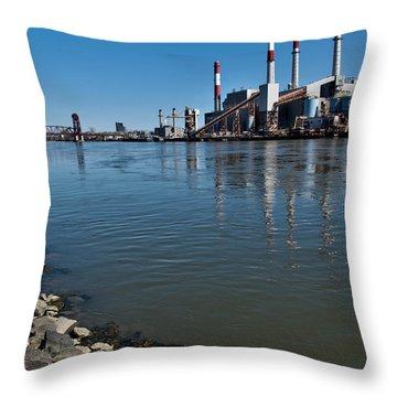 Smokestacks Near Randall Island Throw Pillow by Amy Cicconi