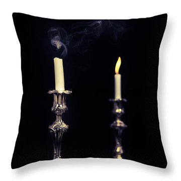 Smoking Candle Throw Pillow by Amanda Elwell