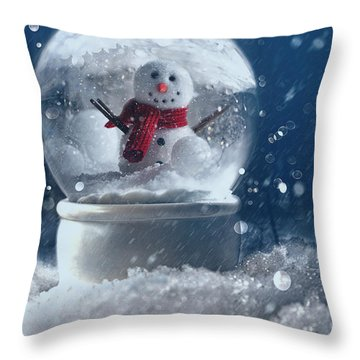 Throw Pillow featuring the photograph Snow Globe In A Snowy Winter Scene by Sandra Cunningham