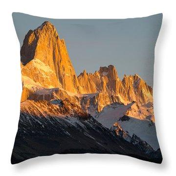 Snowcapped Mountain Range, Mt Fitzroy Throw Pillow