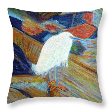 Snowy Egret At Marina Throw Pillow