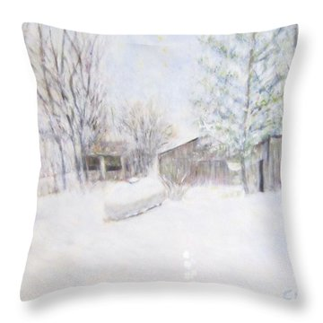 Snowy February Day Throw Pillow