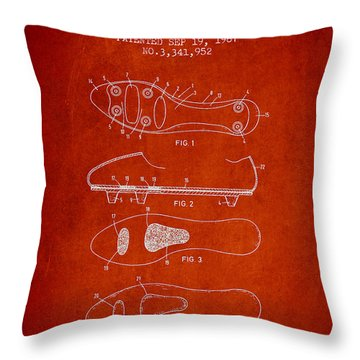 Soccer Shoe Patent From 1967 Throw Pillow by Aged Pixel