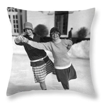Society Ice Skating In Tuxedo, Ny Throw Pillow