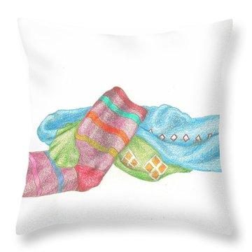 Socks 1 Throw Pillow by Lew Davis