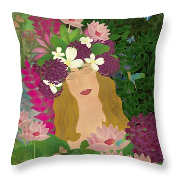 Soul Of Flowers  Throw Pillow
