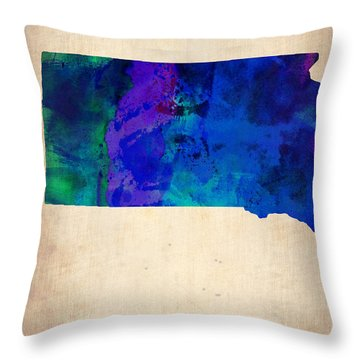 South Carolina Watercolor Map Throw Pillow by Naxart Studio