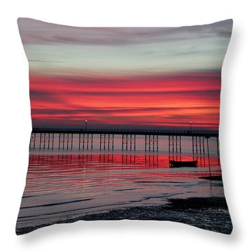 Southend Pier Sunset Throw Pillow