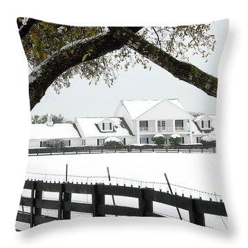 Southfork Ranch In Winter Throw Pillow