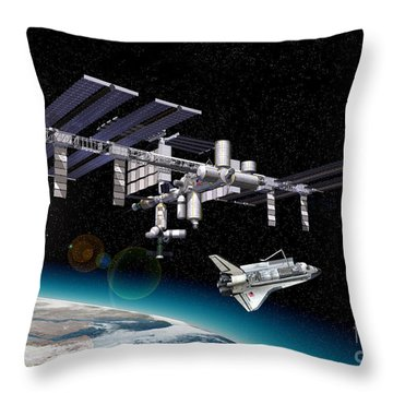 Space Station In Orbit Around Earth Throw Pillow by Leonello Calvetti