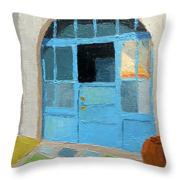 Spanish Arts Village Throw Pillow by Susan Woodward