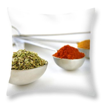 Spices In Measuring Spoons Throw Pillow