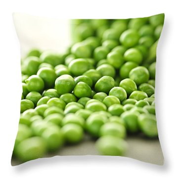 Spilled Bowl Of Green Peas Throw Pillow