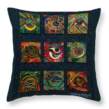 Throw Pillow featuring the painting Spirit Eye Collection II by Deborha Kerr