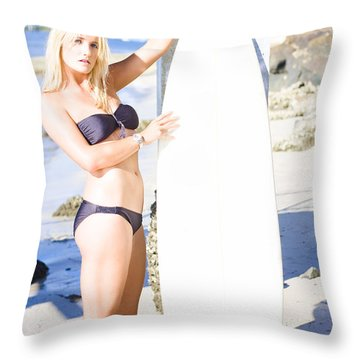Sport Portrait Of Sexy Blond Surfer Babe Throw Pillow
