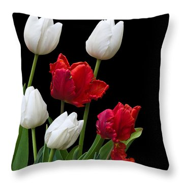 Spring Tulips Throw Pillow by Jane McIlroy