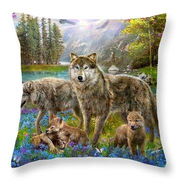 Spring Wolf Family Throw Pillow