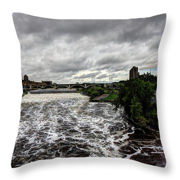 St Anthony Falls Throw Pillow by Amanda Stadther