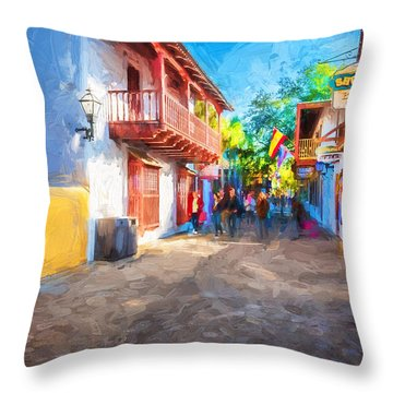 St George Street St Augustine Florida Painted Throw Pillow