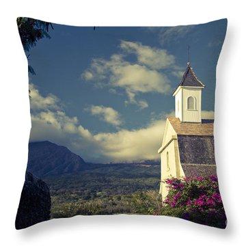 St. Joseph Catholic Church Kaupo Maui Hawaii Throw Pillow by Sharon Mau