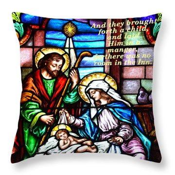 Throw Pillow featuring the photograph St. Marys Nativity Stained Glass by Debby Pueschel