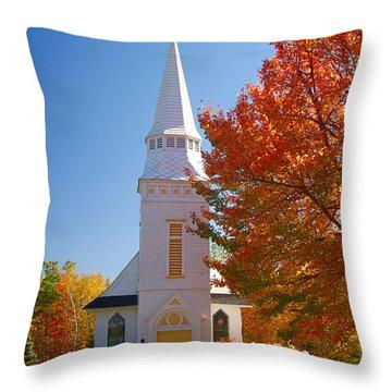 Throw Pillow featuring the photograph St Matthew's In Autumn Splendor by Jeff Folger
