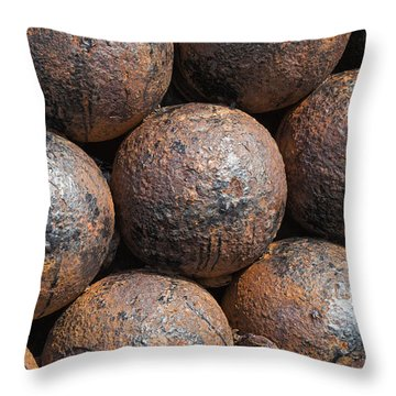 Throw Pillow featuring the photograph Stack Of Cannon Balls At Castillo San Felipe Del Morro by Bryan Mullennix