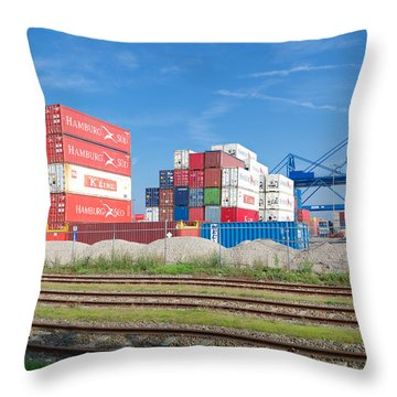 Stacked Cargo Containers Throw Pillow by Hans Engbers