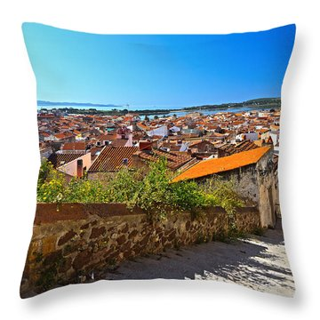 stairway and ancient walls in Carloforte Throw Pillow by Antonio Scarpi