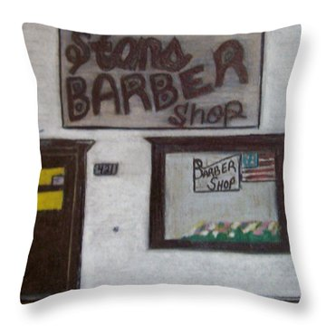 Stans Barber Shop Menominee Throw Pillow