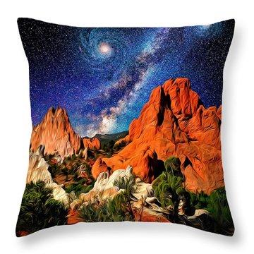 Starry Night At Garden Of The Gods Throw Pillow