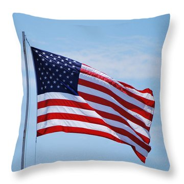 Throw Pillow featuring the photograph American Flag  by Bob Sample